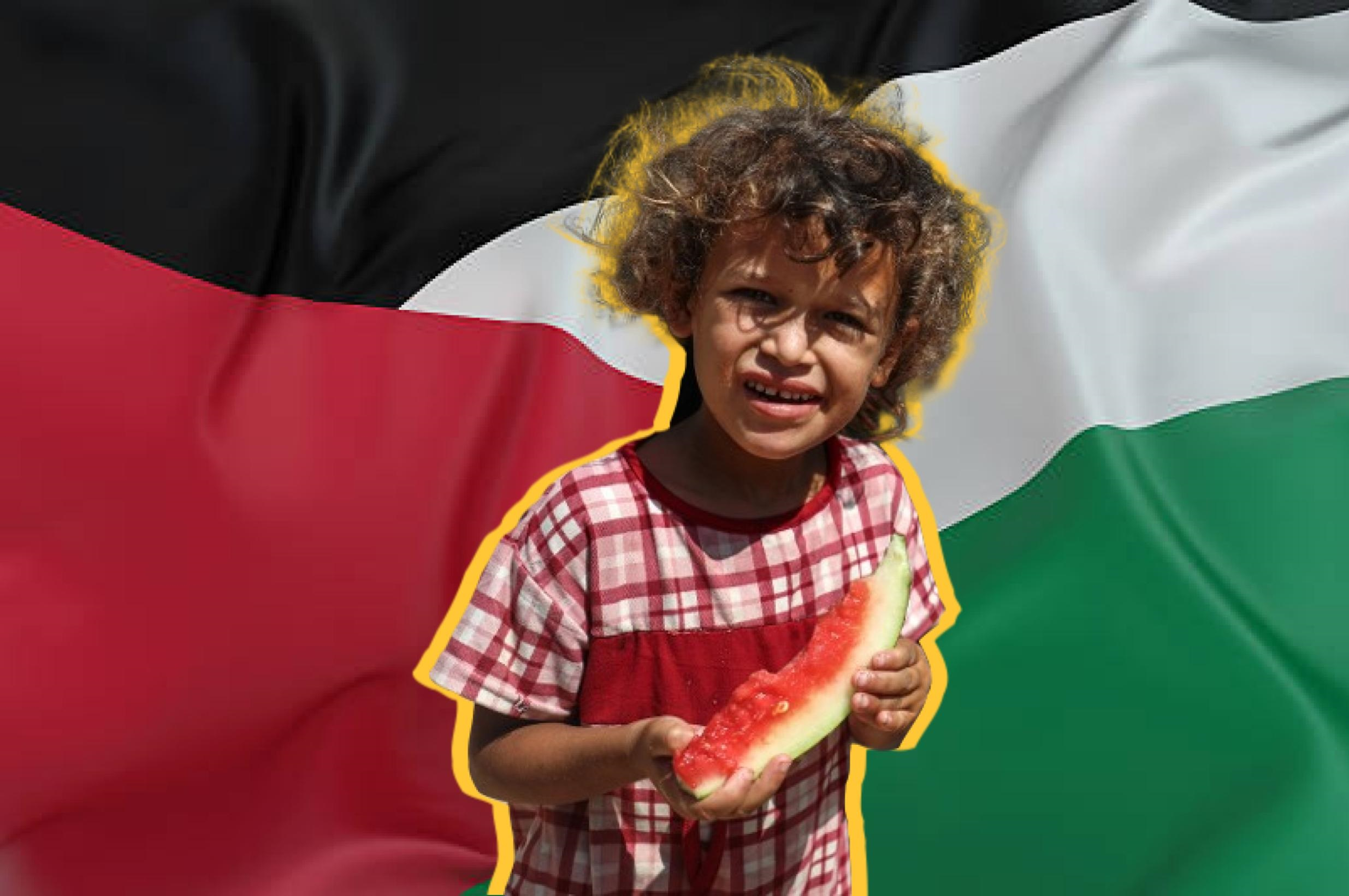 The watermelon shares the same colours as the Palestinian flag
