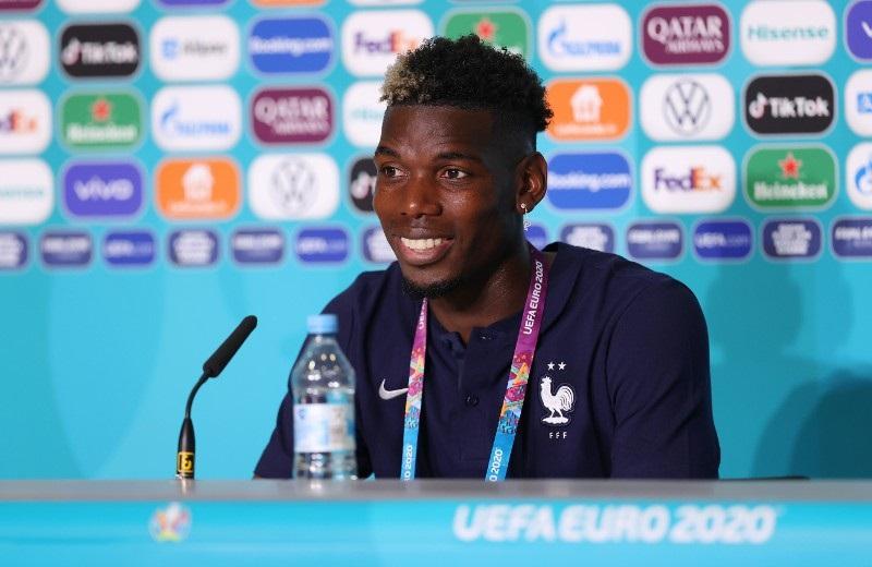 Paul Pogba at a press conference representing France at Euro 2020