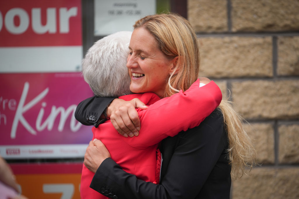 Labour's Kim Leadbeater embraces her mother Jean as she celebrates her victory in the Batley And Spen By-election.