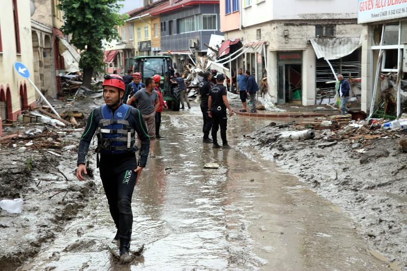 Flash floods killed 27 in Turkey's Black Sea region in the provinces of Bartin, Kastamonu and Sinop