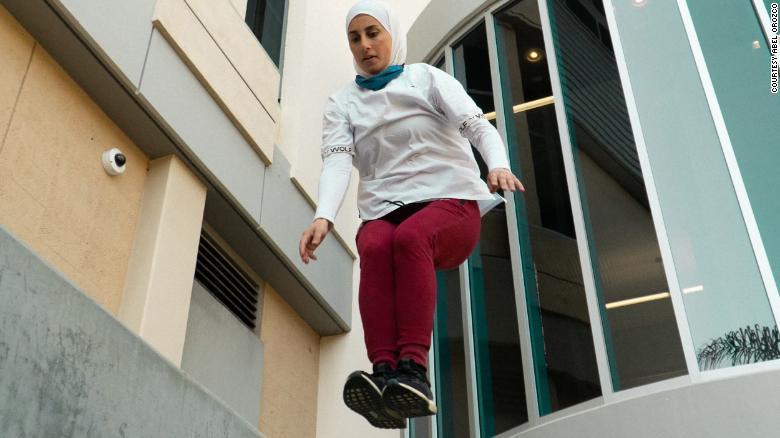 Parkour athlete Sara Mudallal