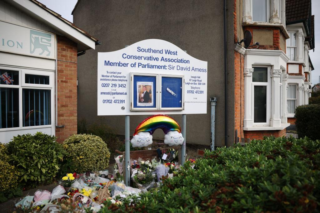 Tributes outside Belfairs Methodist Church