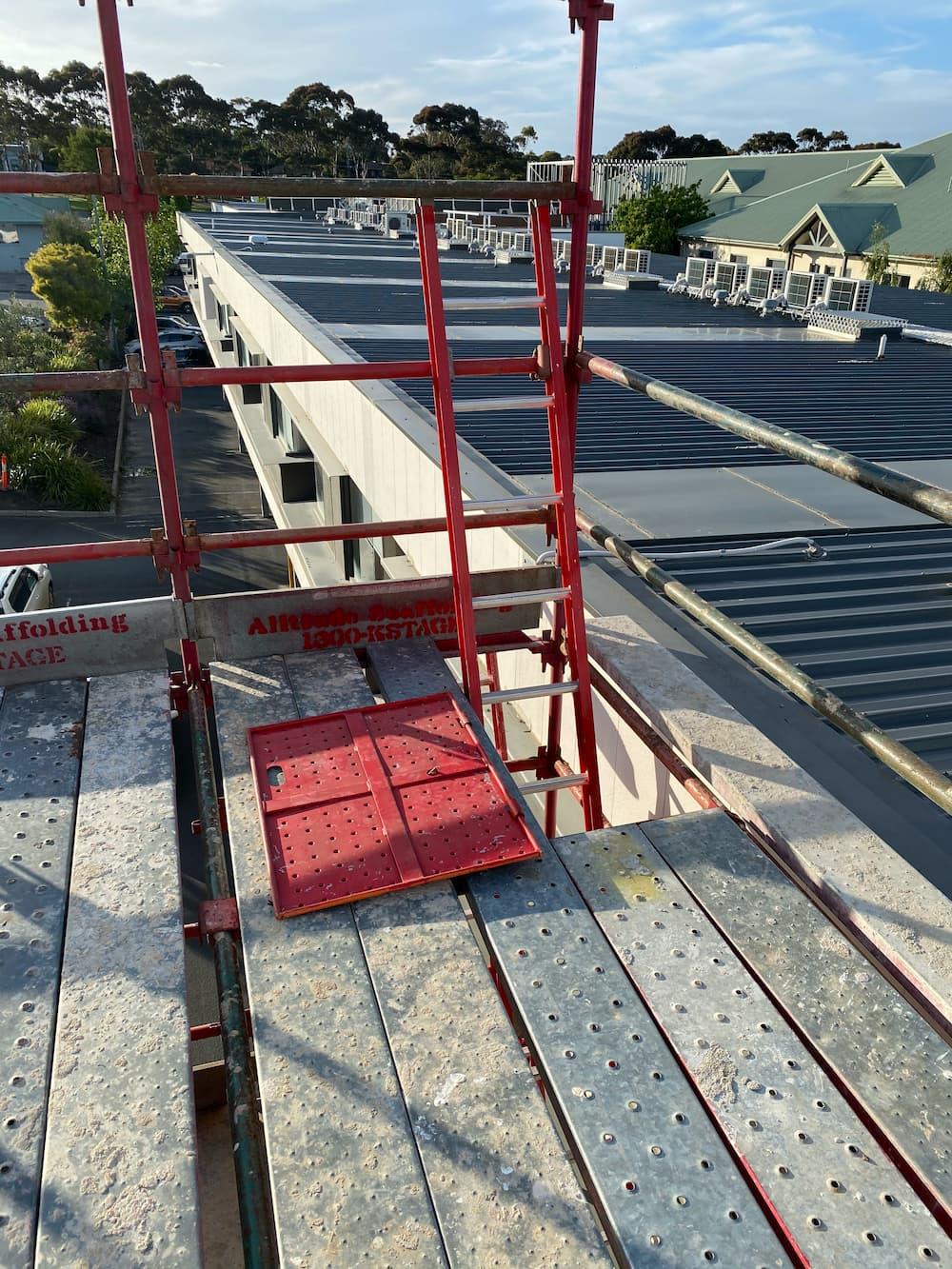 large commercial scaffolding roof platform