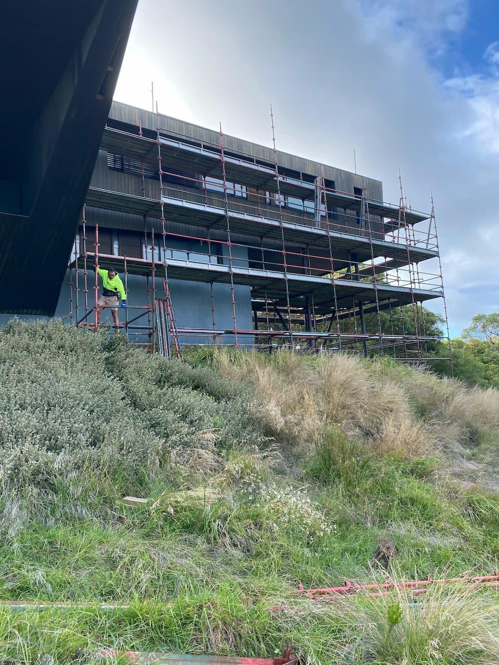 modern house overhang scaffolding