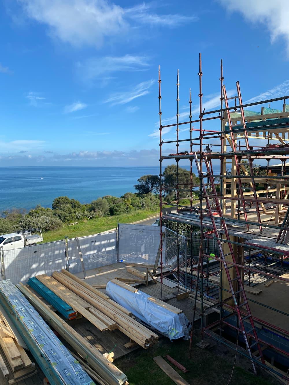 Residential multi storey scaffolding at beach