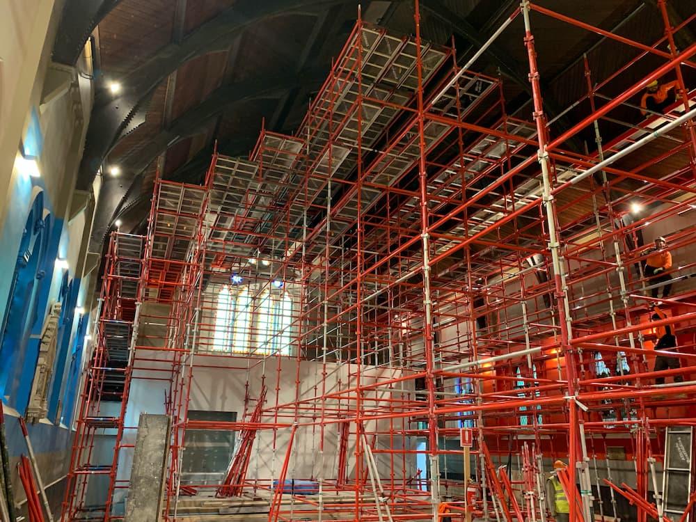 Church building restoration scaffolding
