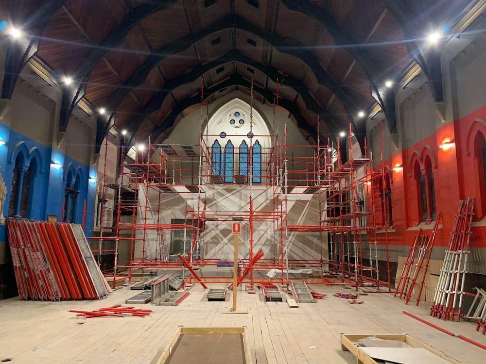 church restoration scaffolding