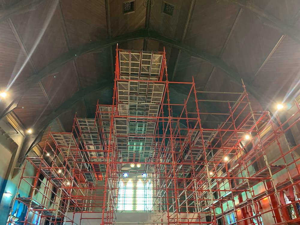 Church building ceiling restoration scaffolding