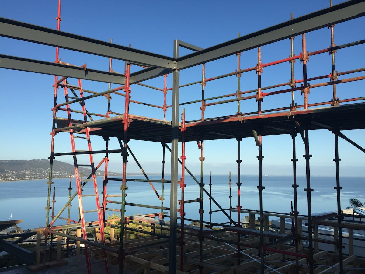 Scaffolding at height with sea views
