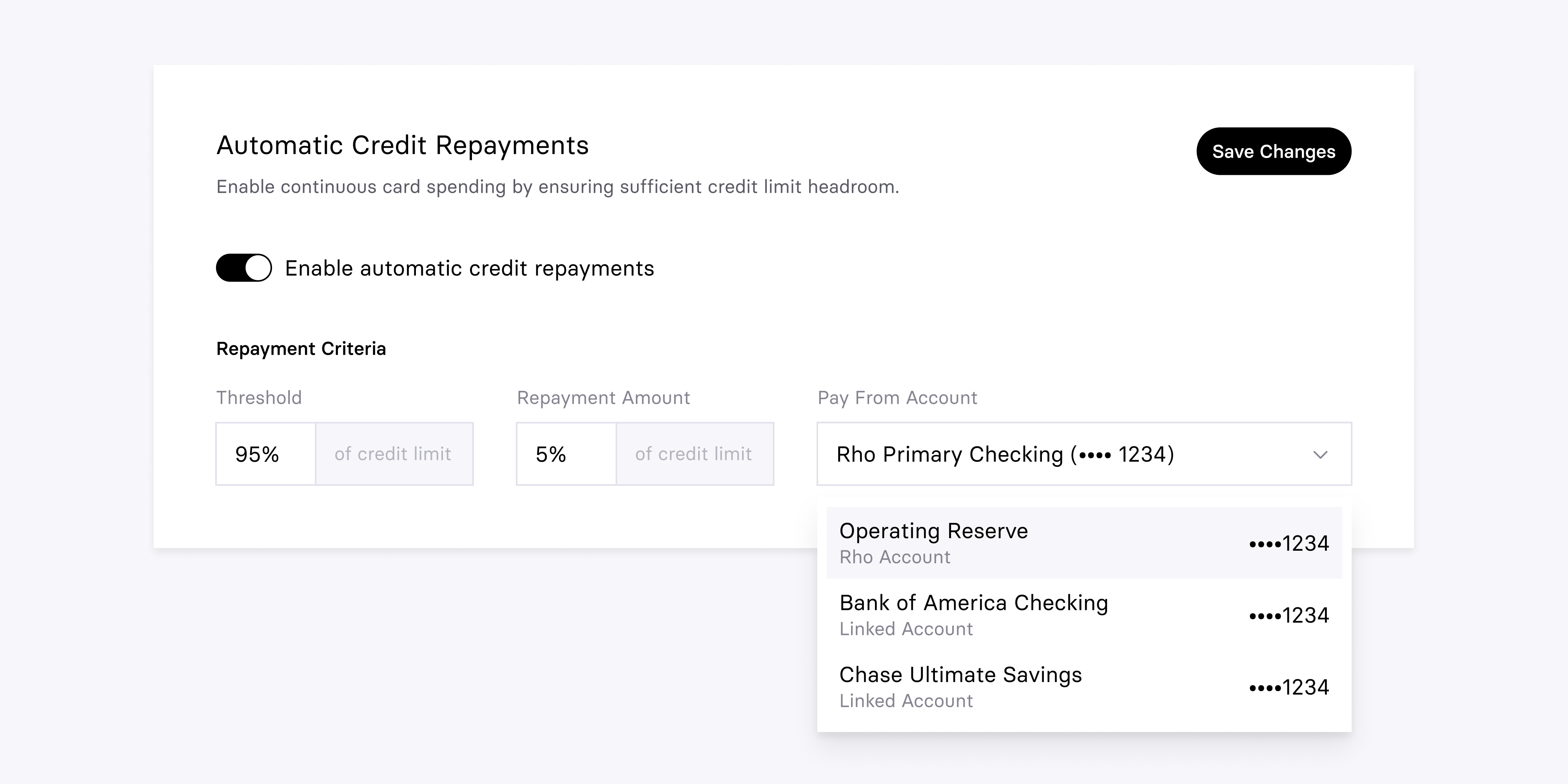 Introducing Rho's automatic interim credit repayments that empower continuous spending for your business by triggering a partial repayment of your balance as you near your credit limit.