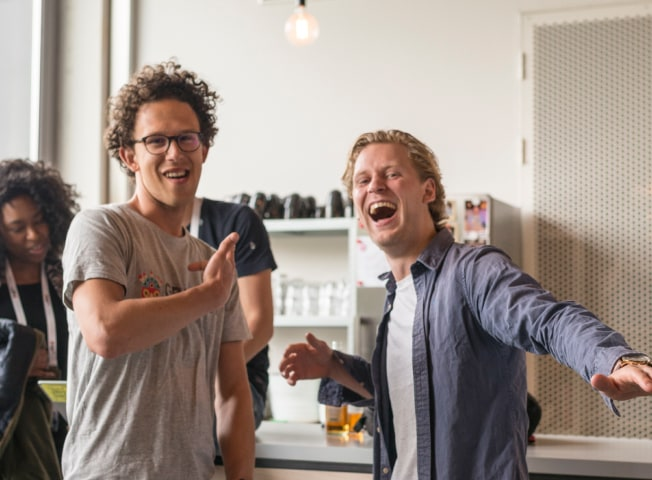 2 men laughing