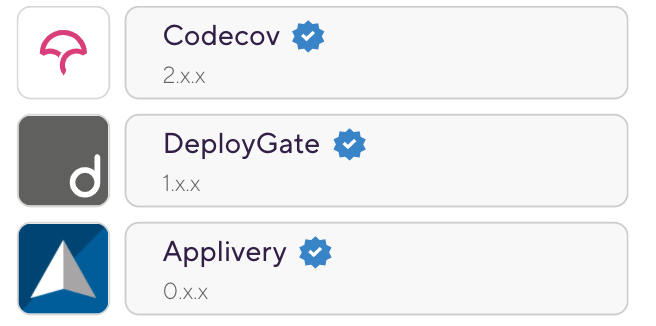 Most popular Verified Steps on Bitrise — 2020 1. Codecov 2. Deploygate 3. Applivery