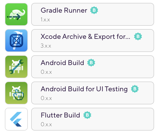 Most popular Build Steps on Bitrise — 2020 1. Gradle Runner 2. Xcode archive and export for iOS 3. Android Build 4. Android Build for UI testing 5. Flutter Build