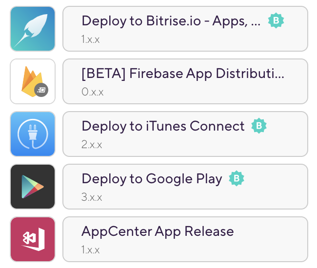 Most popular Deploy Steps on Bitrise — 2020 1. Deploy to Bitrise.io 2. FireBase app distribution 3. Deploy to itunes connect 4. Deploy to Google Play 5. Appcenter app release
