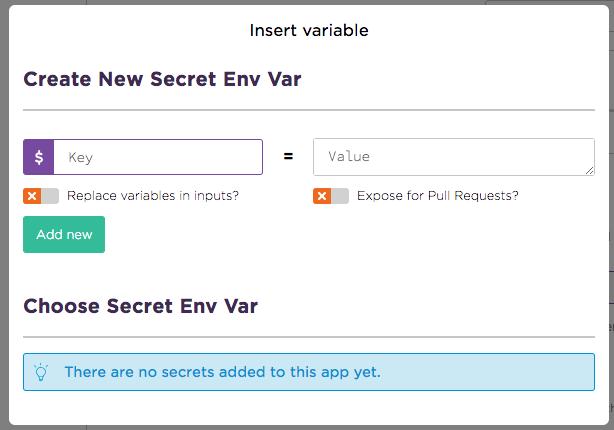 insert secret enviroment variable