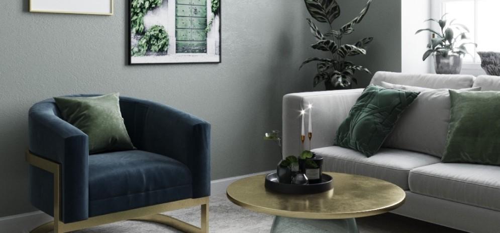 Rendered mockup of living room design