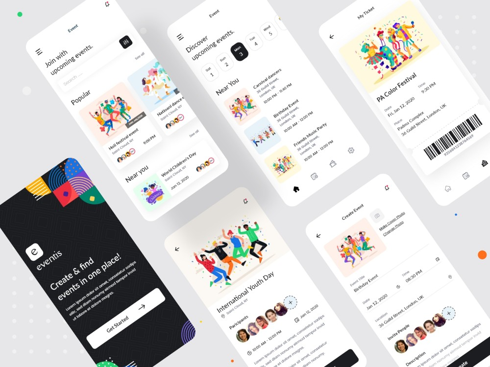 Mobile app designs from a project