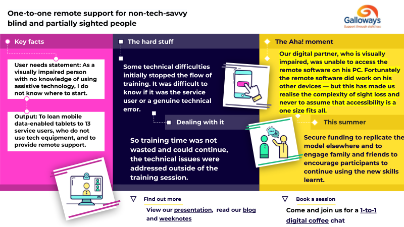 One-to-one remote support for non-tech-savvy blind and partially sighted people