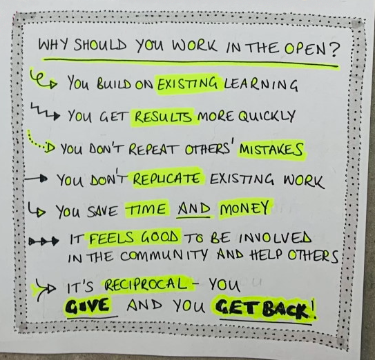 Hand drawn graphic - why should you work in the open?