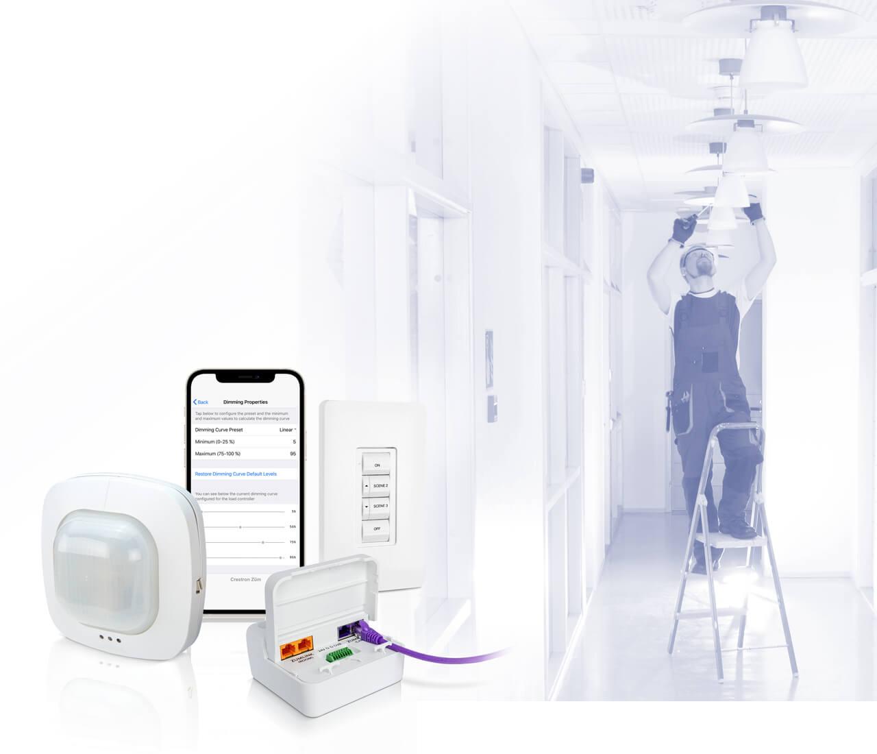 Man installing Wired Zum lighting with wired zum accessories
