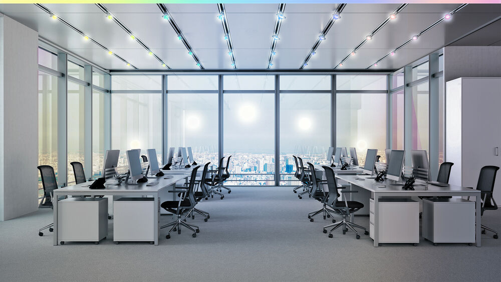 Lighting install in office building