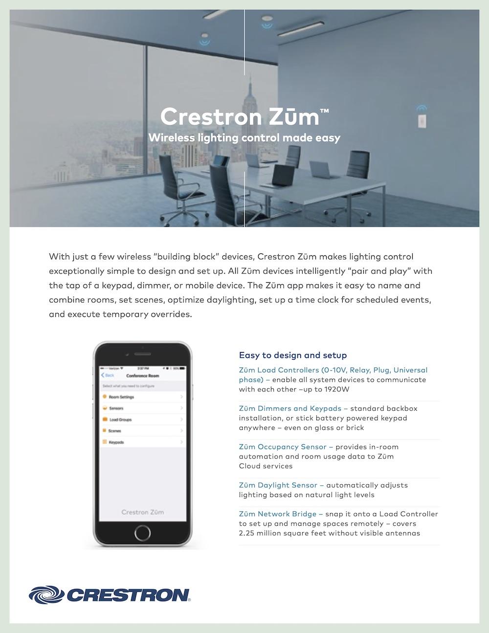 Crestron Zūm™ Sell Sheet