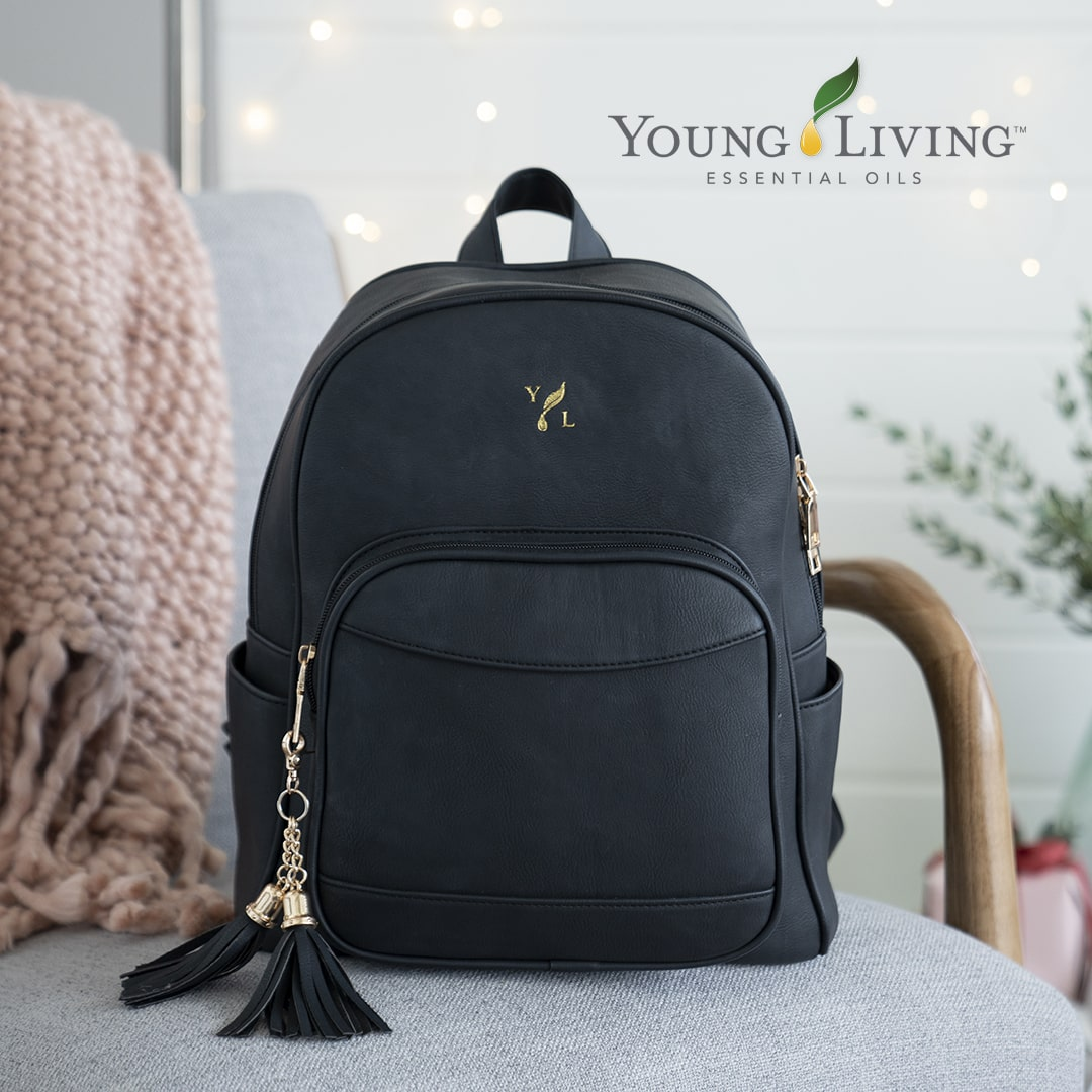 Ätherisches Öl Young Living: Schwarzer Young Living Leder Rucksack