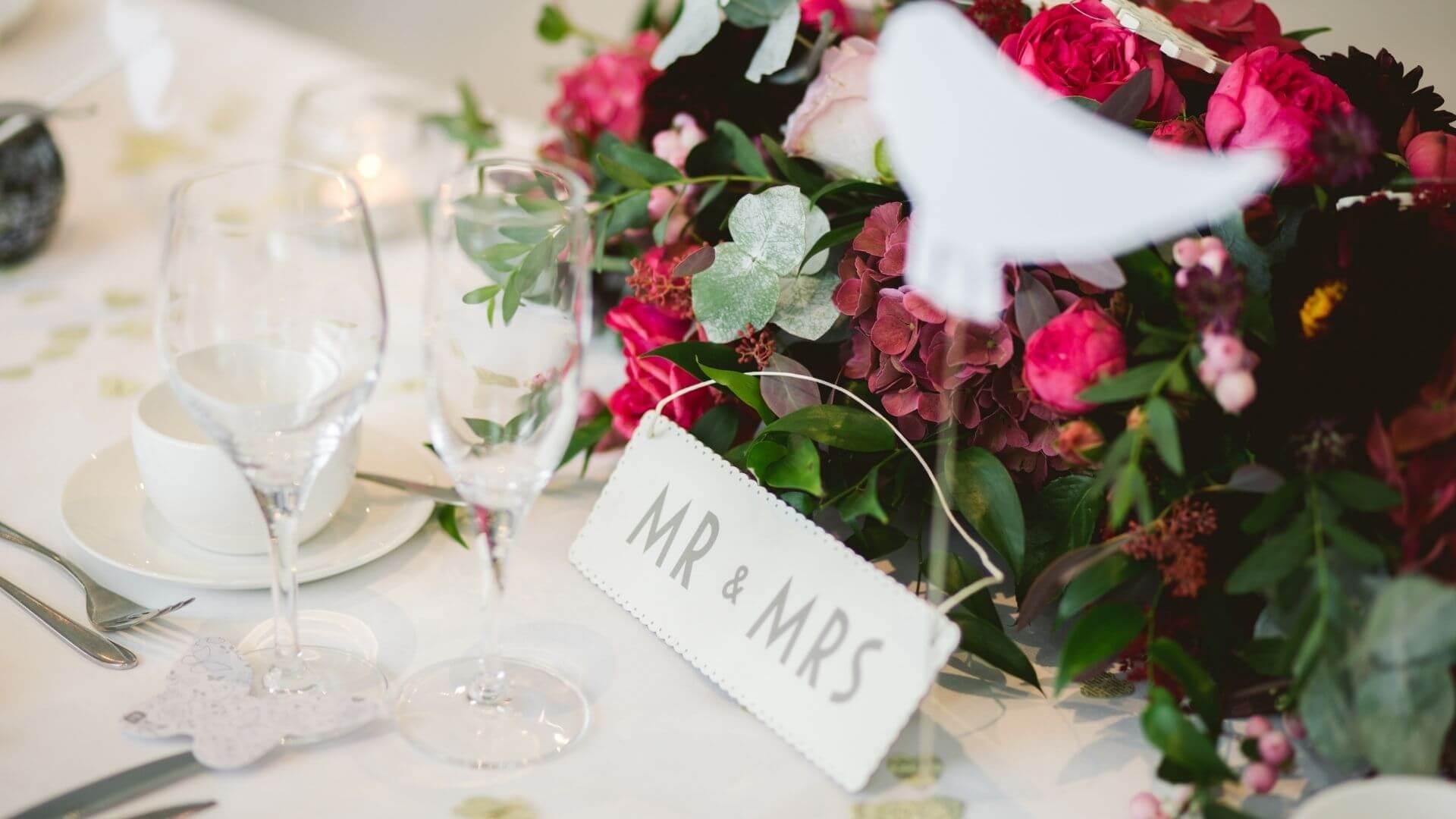 Photos de la table des mariés