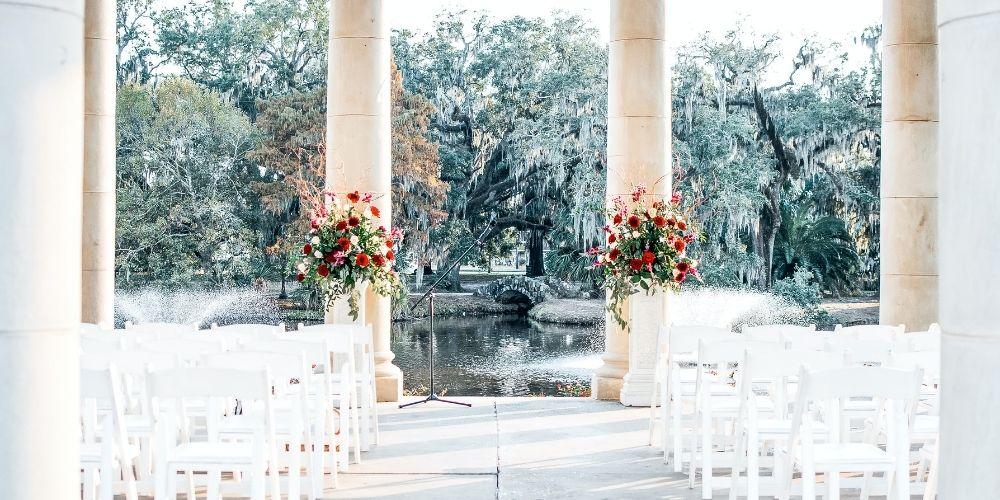 Photo d'une salle de cérémonie de mariage en plein air
