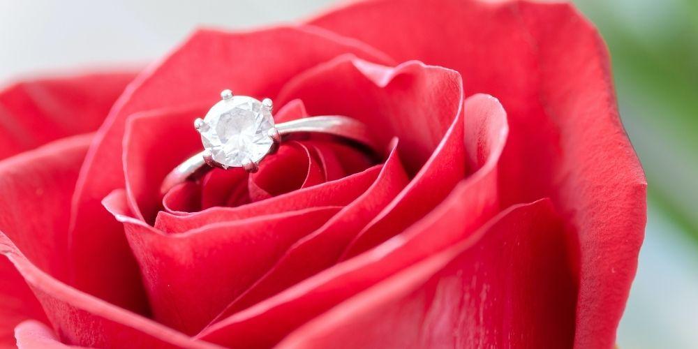 Cachez la bague dans une rose est une bonne idée de déclaration de mariage