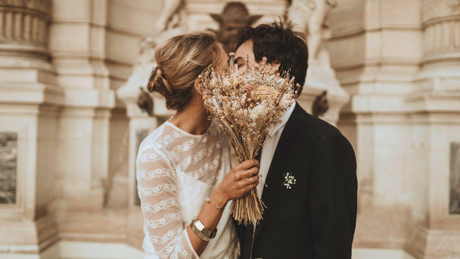 Les mariés ensemble à Fécamp