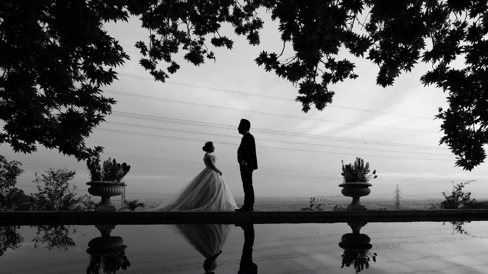 Une photo des deux mariés à Meudon