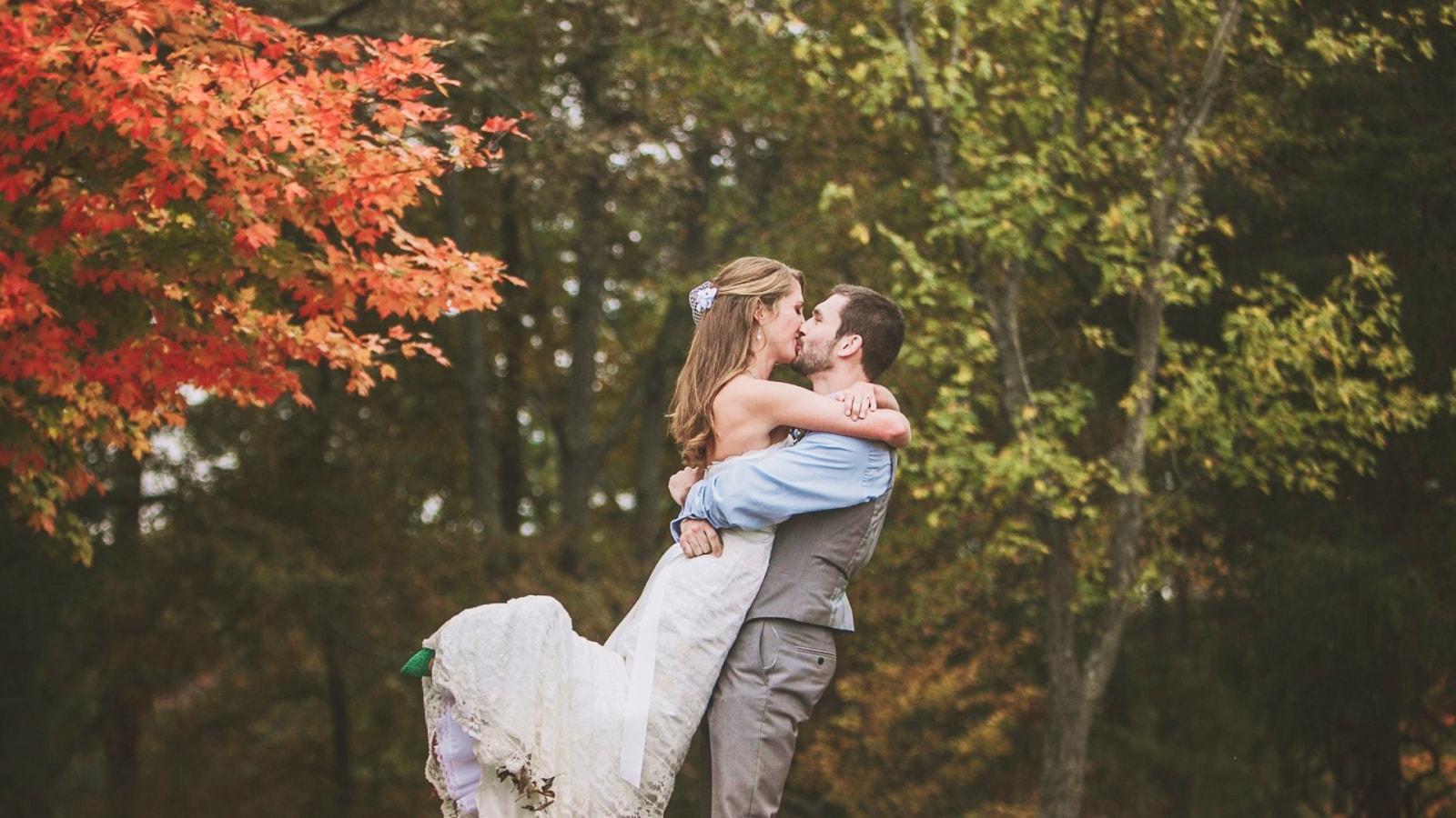 Photo d'un couple de mariés en Auvergne-Rhône-Alpes