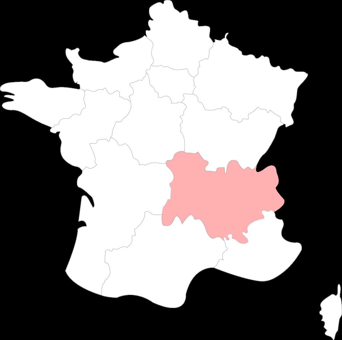Map de la Région Auvergne-Rhône-Alpes