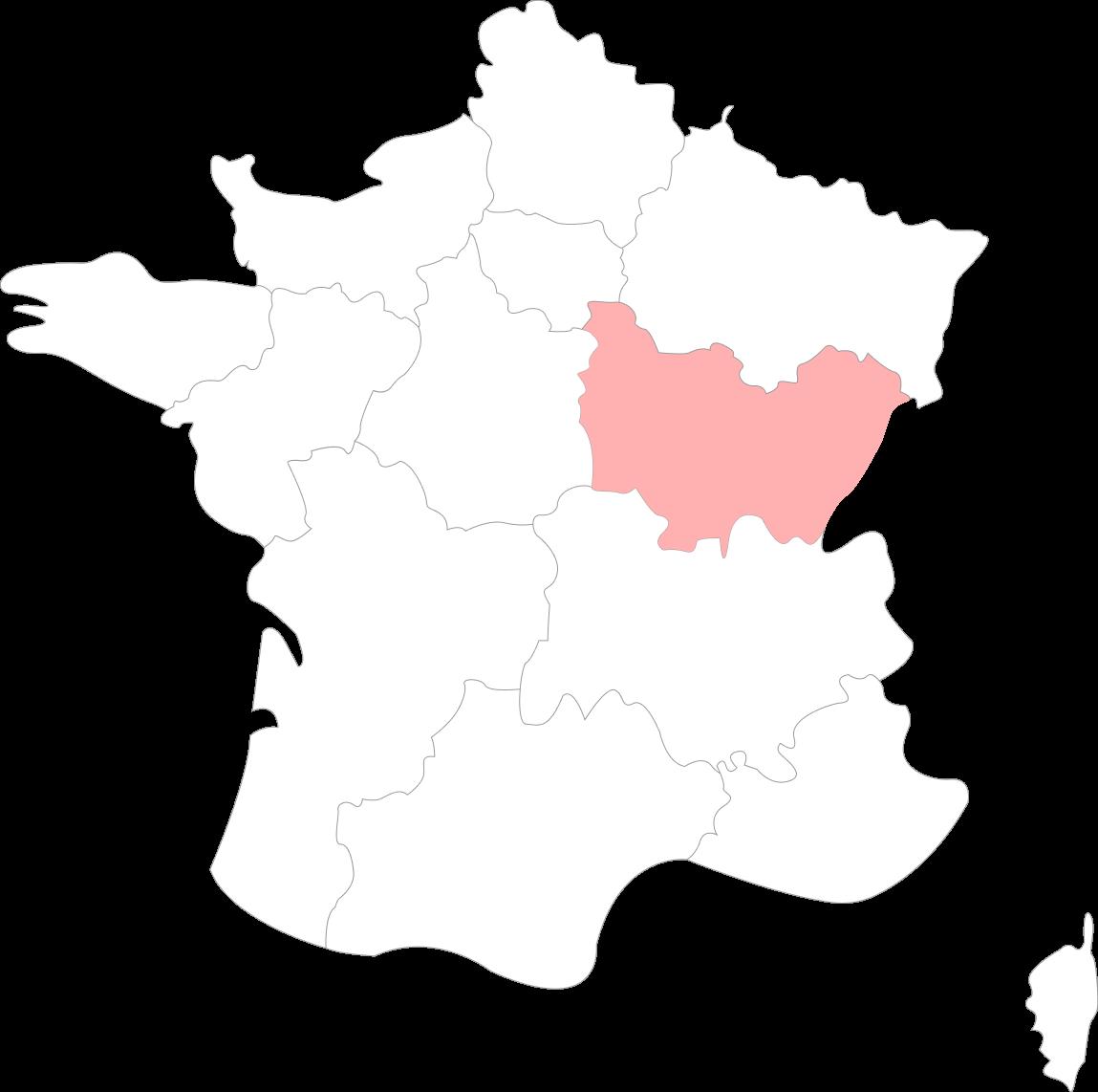 Map de la Bourgogne-Franche-Comté