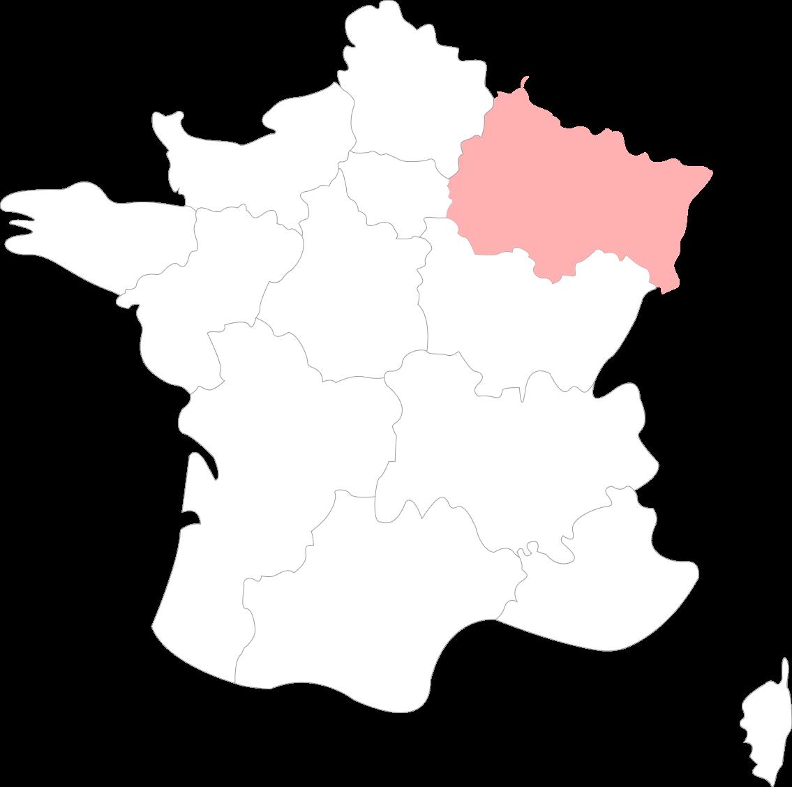 Carte de la région grand-est-alsace