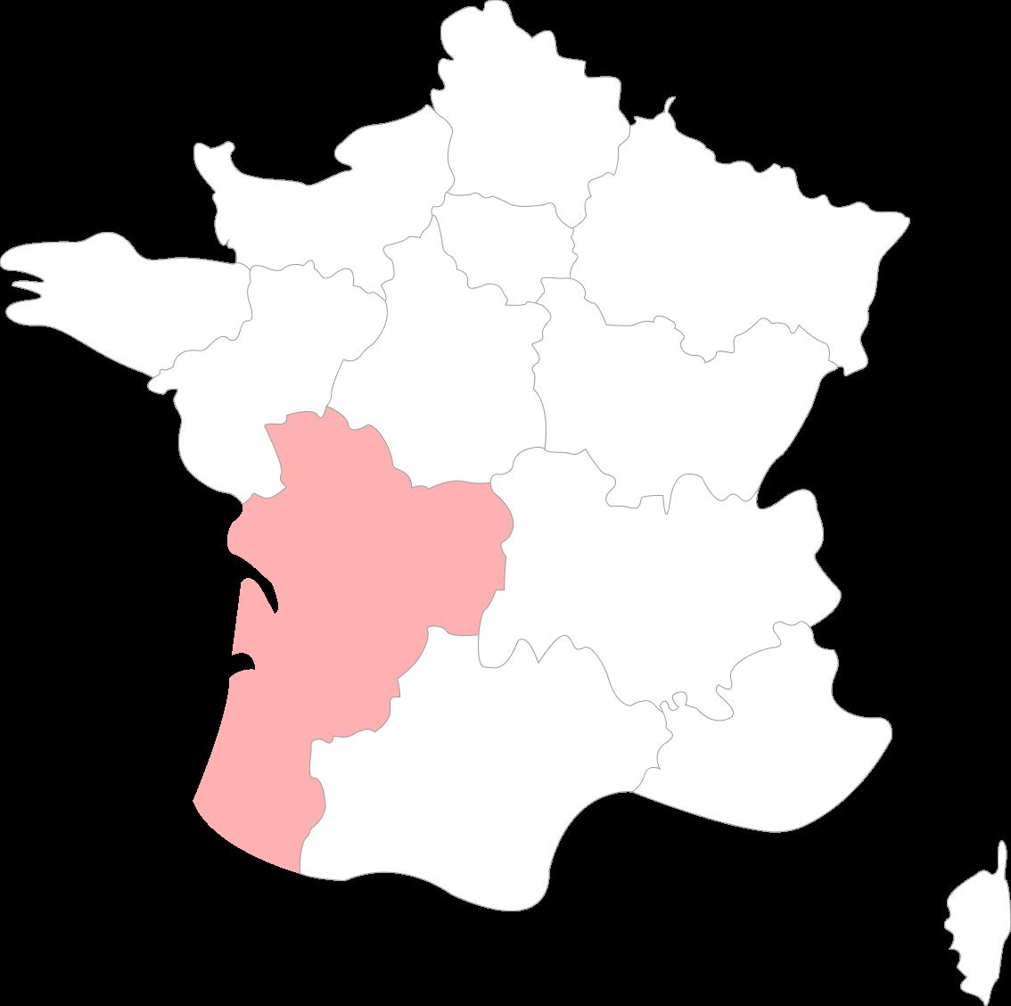 Map de la Nouvelle Aquitaine