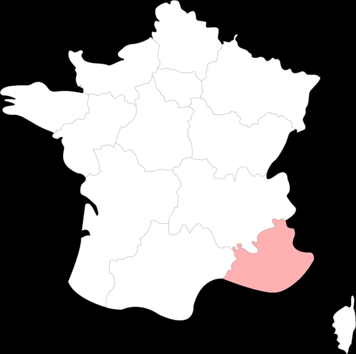 Map de la Région PACA