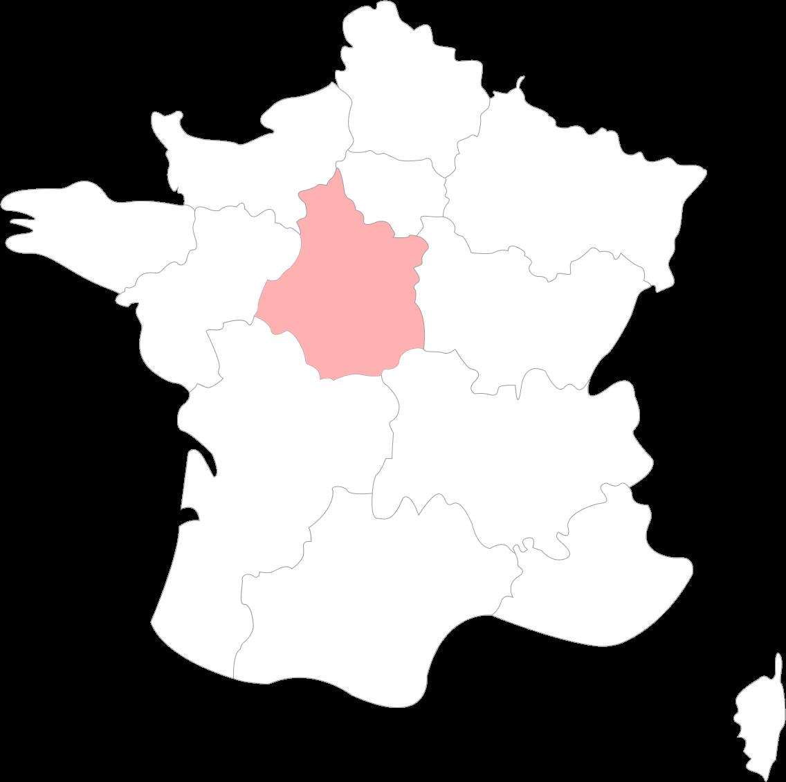 Carte de la région Centre-Val-de-Loire