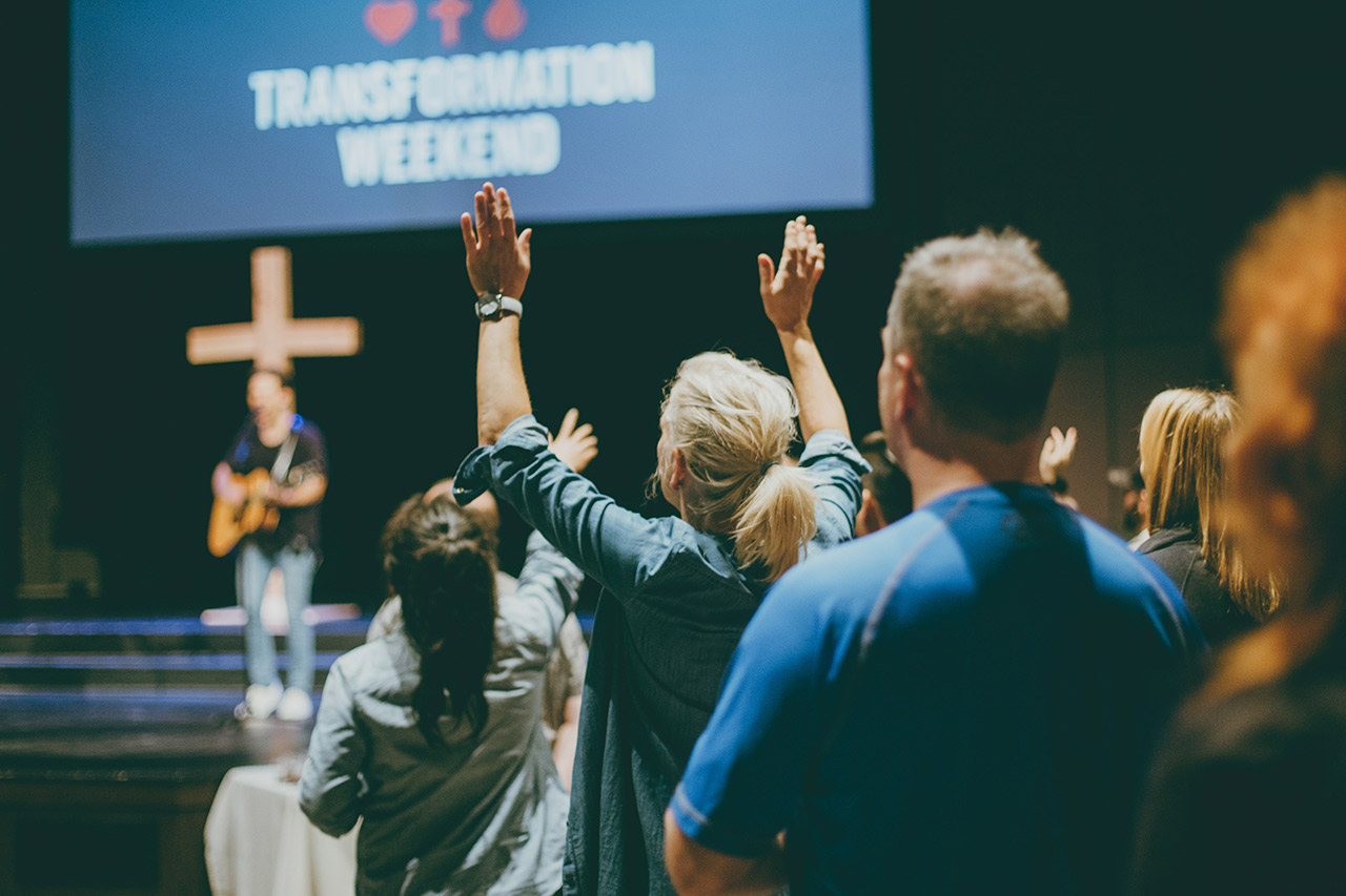 Worshipping in a service