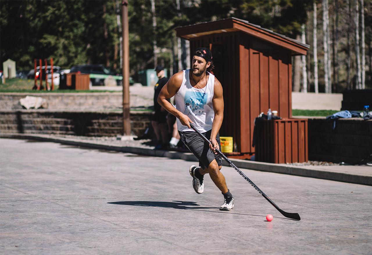 A man playing hockey.