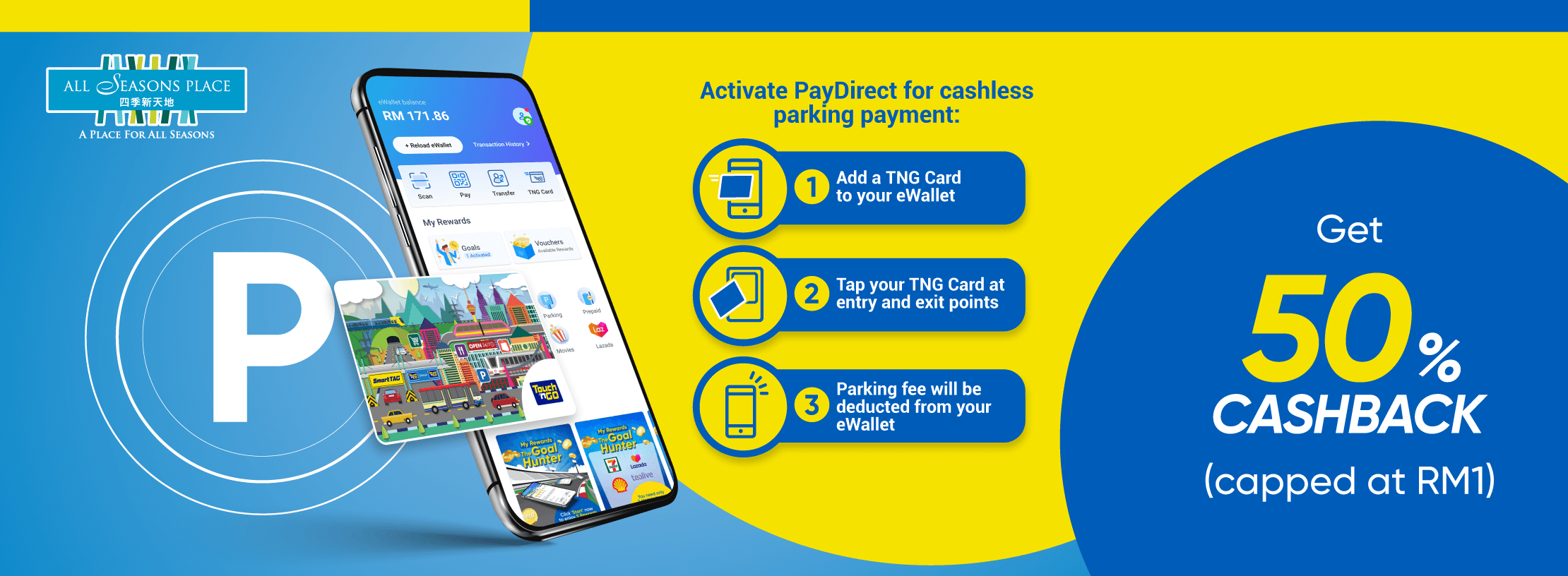 PayDirect Parking at All Season Place: 50% Cashback