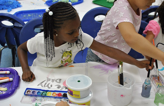 Children in painting class