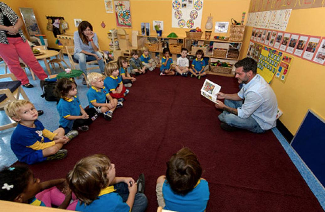 Teacher and children during  a class