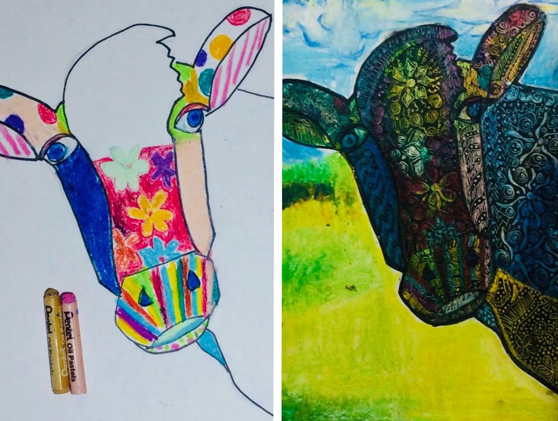 Colorful Cow Sgraffito Art