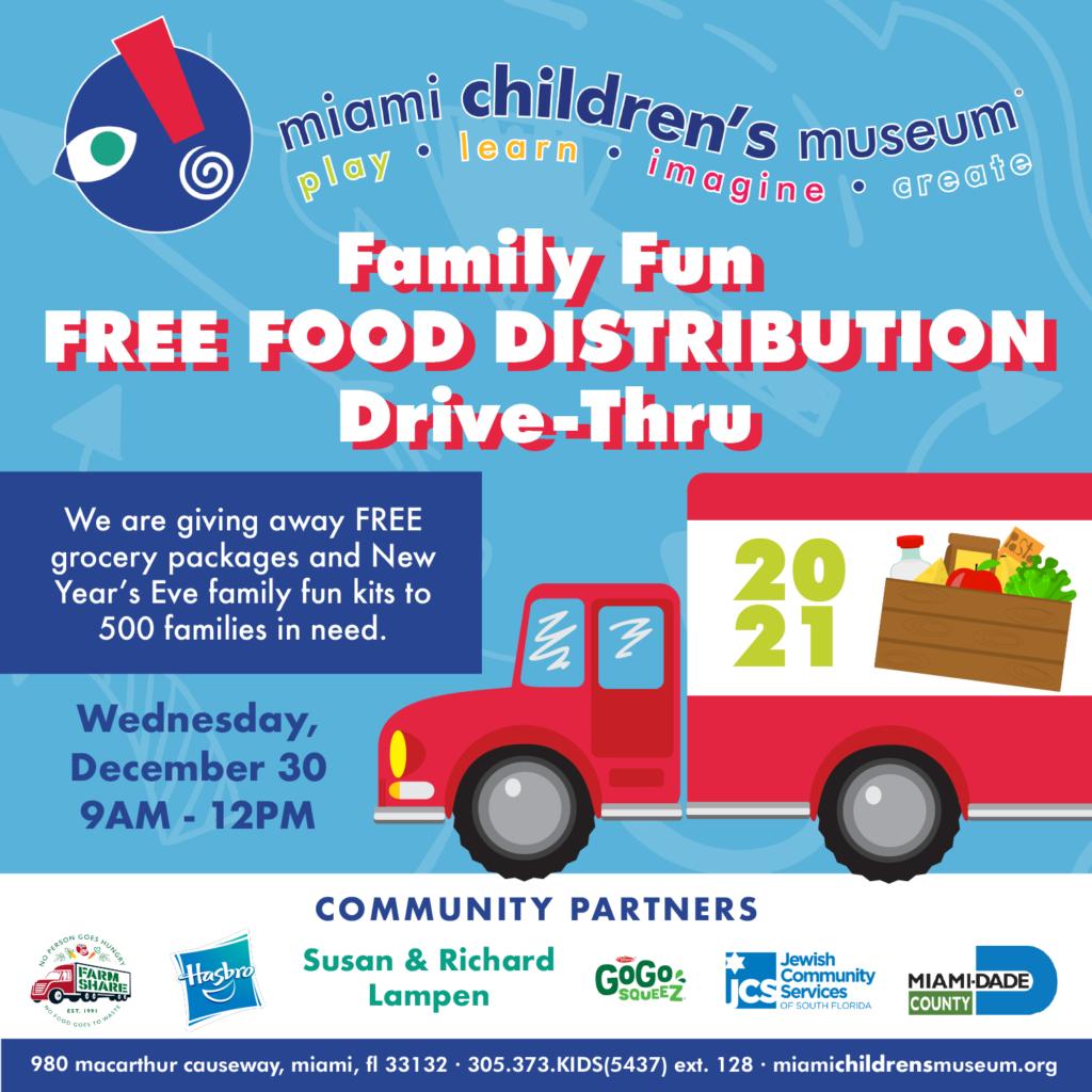 DECEMBER 30, 2020: Miami Children's Museum Family Fun Food Distribution Drive-Thru