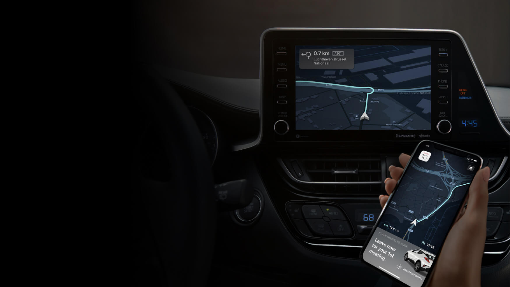 Mapbox in-car navigation on a car screen and on mobile phone.