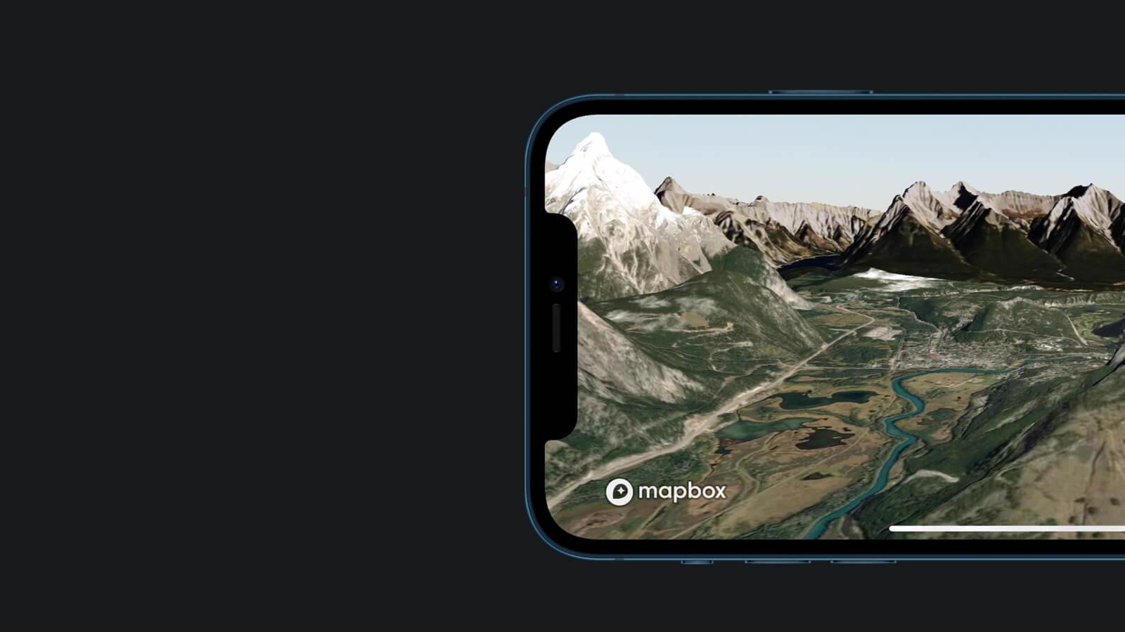An iphone with Mapbox mobile 3D maps on its screen.