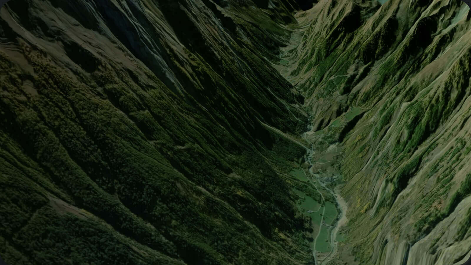 Mapbox photorealistic 3D map of mountains.