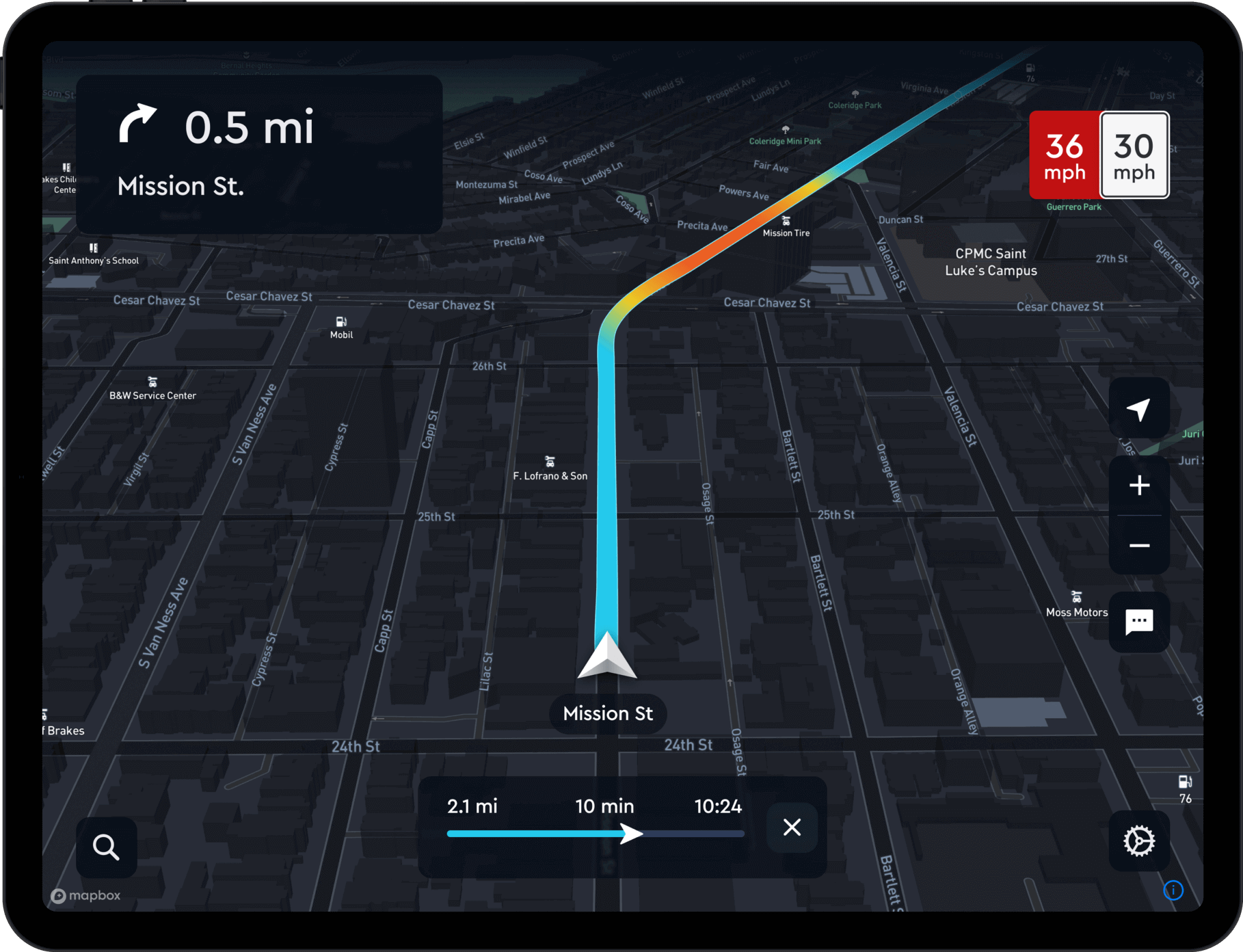 Mapbox navigation on a tablet.